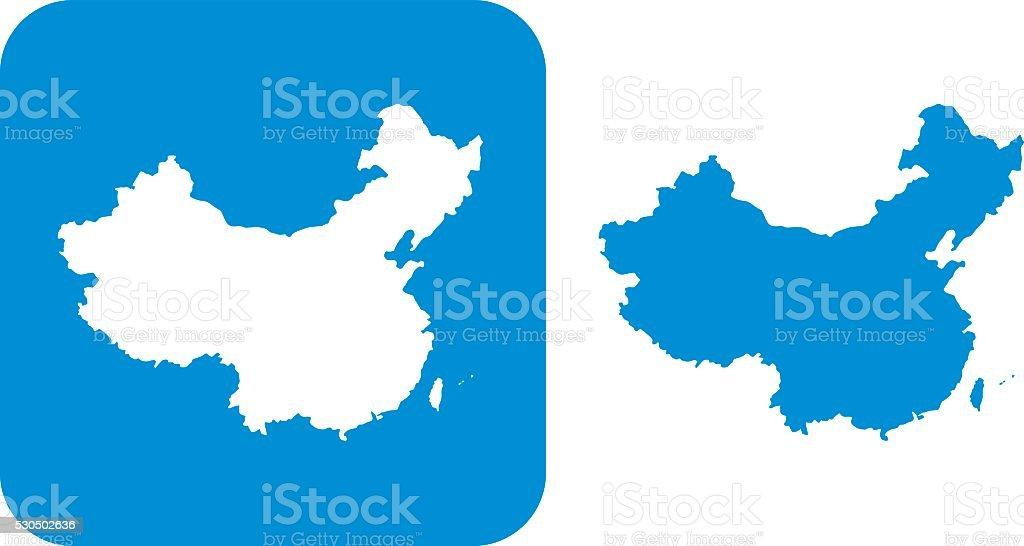 Blue China Icon vector art illustration
