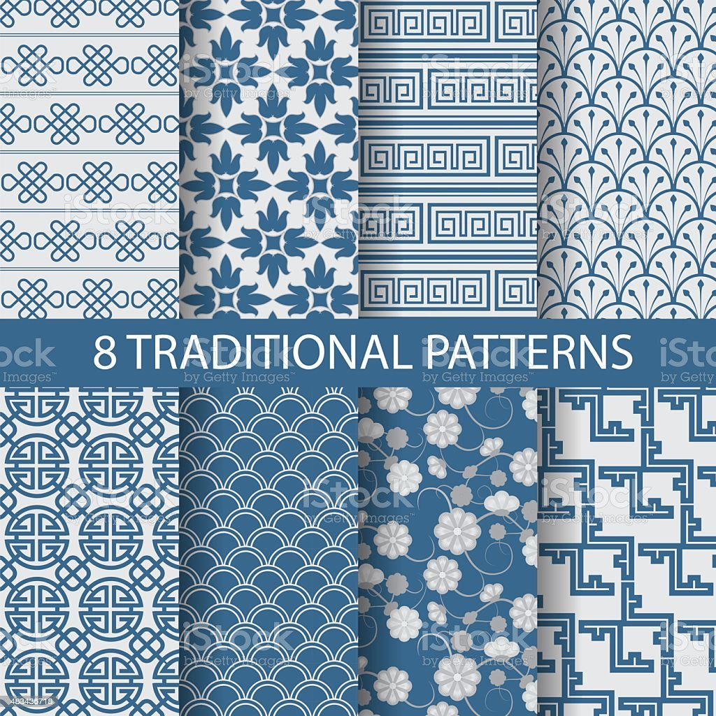 blue chinese patterns vector art illustration