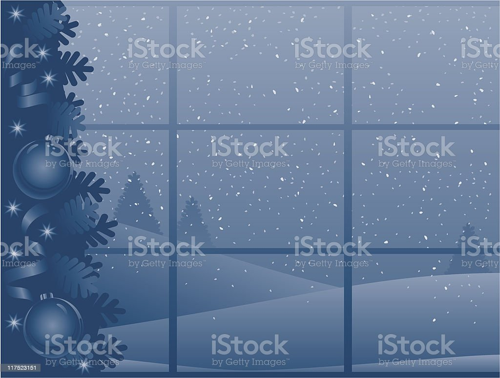 Blue Christmas background horizontal royalty-free stock vector art