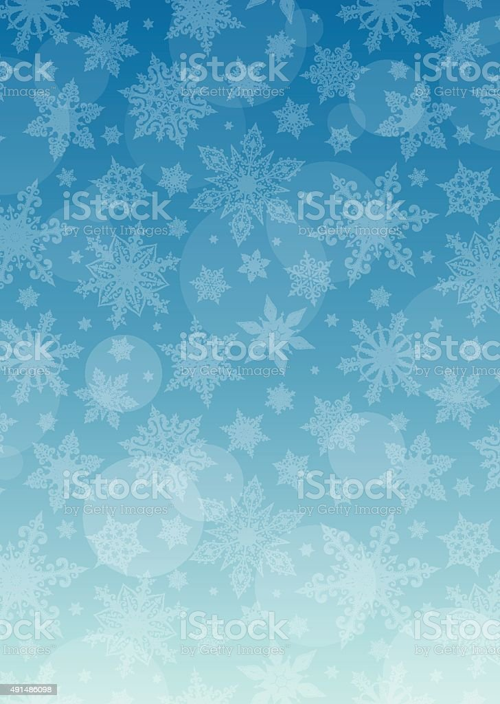 Blue Christmas Background - Snowflakes vector art illustration