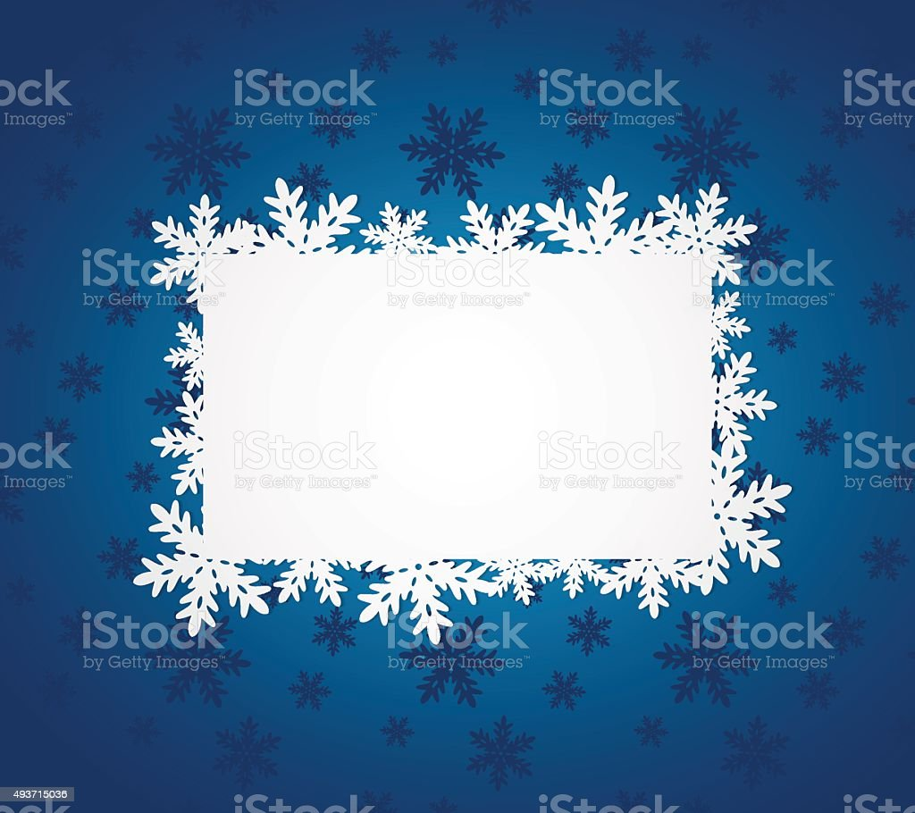 Blue Christmas background with paper snowflakes. vector art illustration