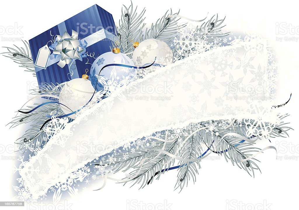 Blue Christmas banner with Frost bauble garland royalty-free stock vector art