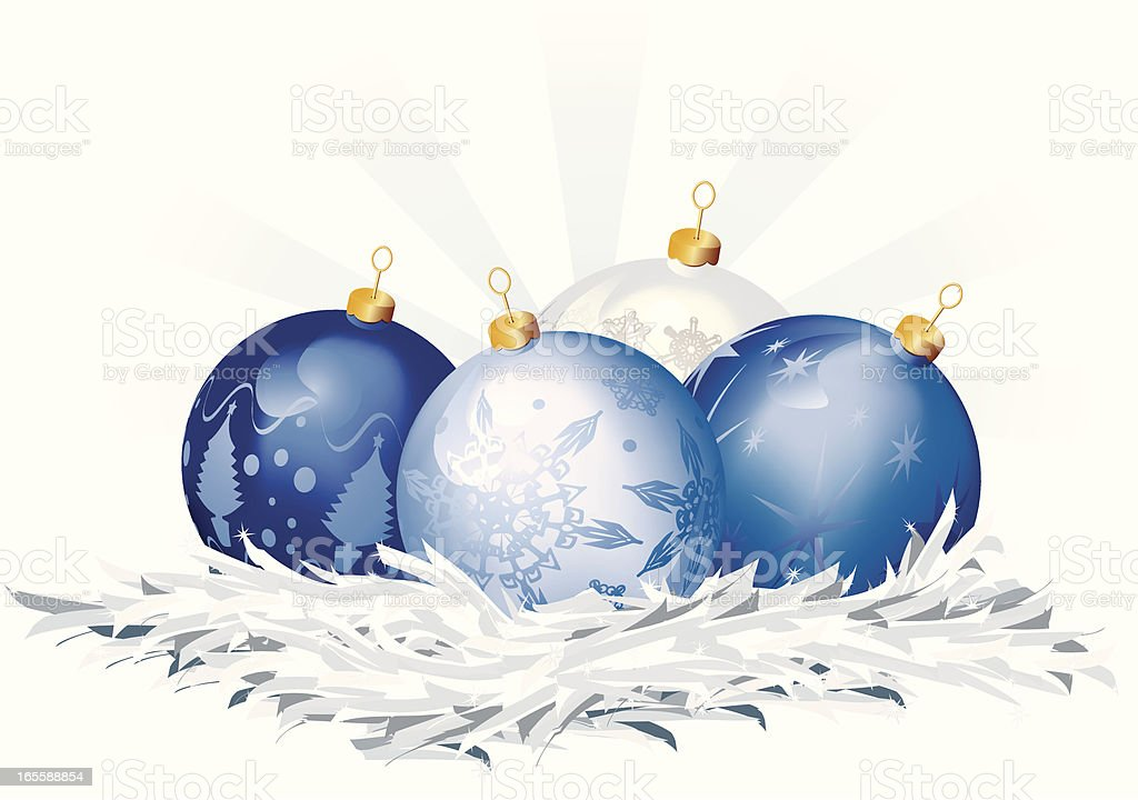 Blue Christmas Baubles in a Tinsel Nest royalty-free stock vector art