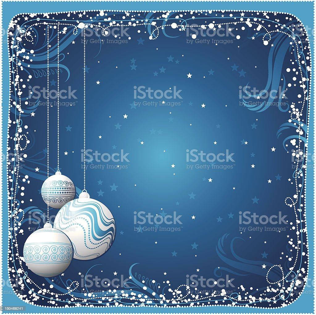 blue christmas card with  balls royalty-free stock vector art