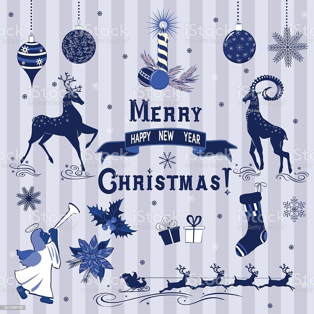 Blue Christmas decorations vector art illustration