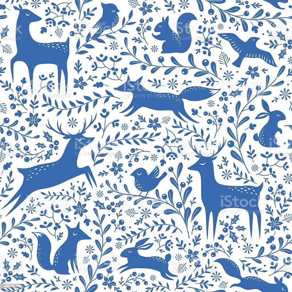Blue Christmas forest pattern vector art illustration