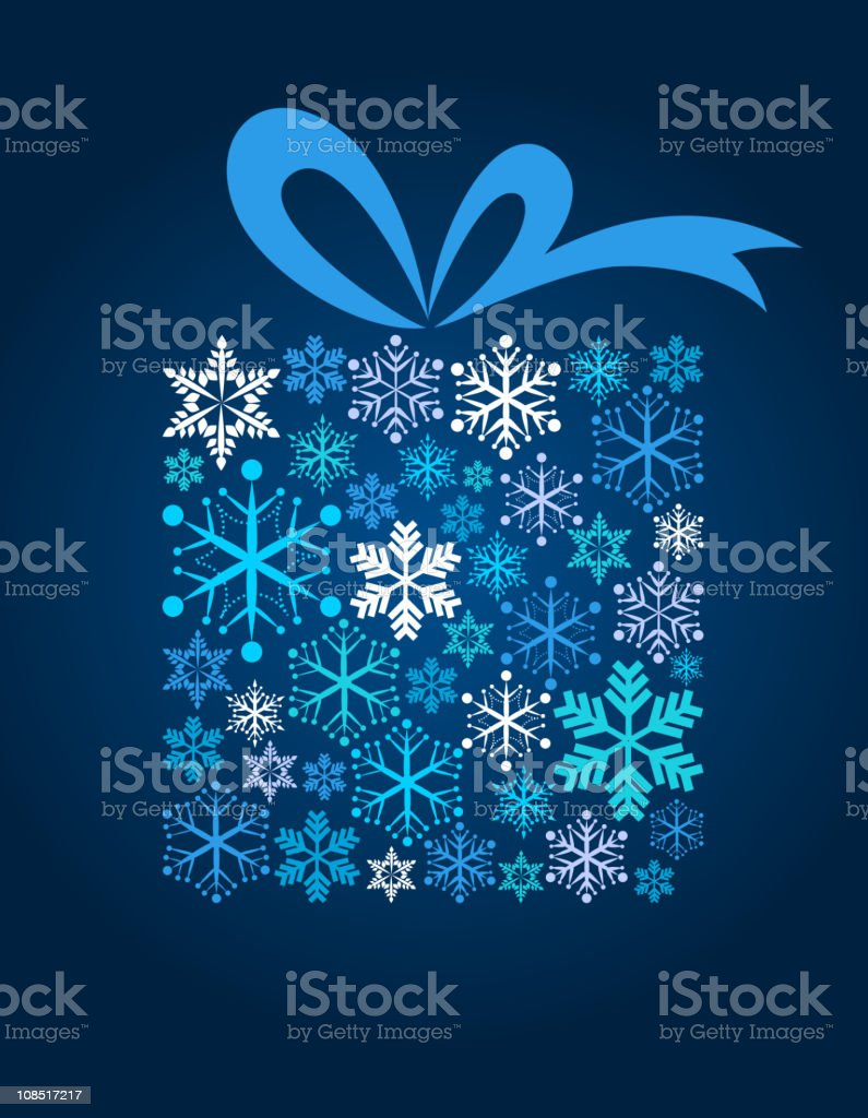 Blue Christmas gift box illustration made of snowflakes vector art illustration