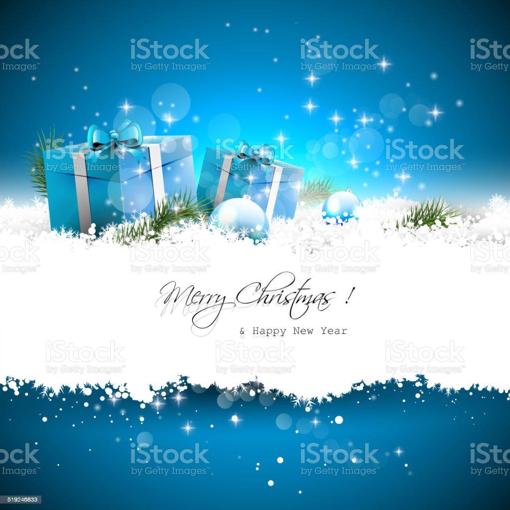 Blue Christmas greeting card vector art illustration