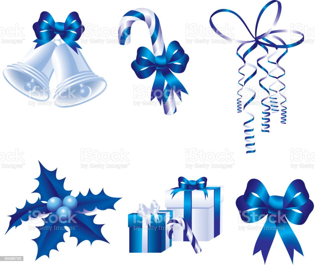 blue christmas icons vector art illustration