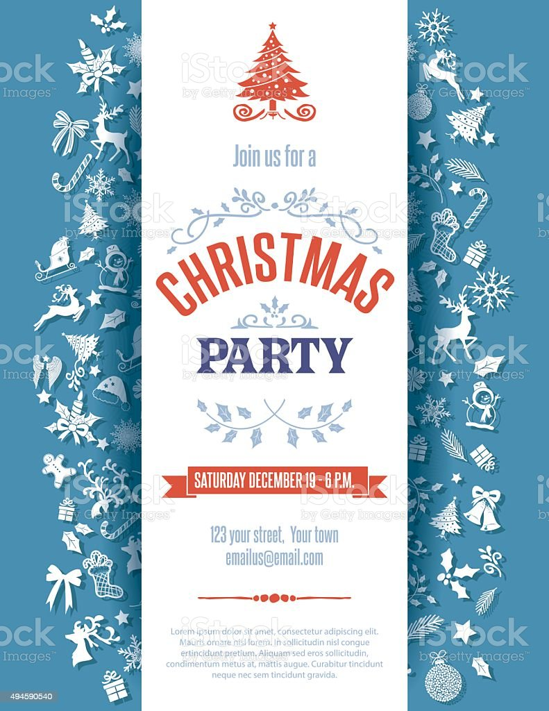 Blue Christmas Party Invitation Template vector art illustration