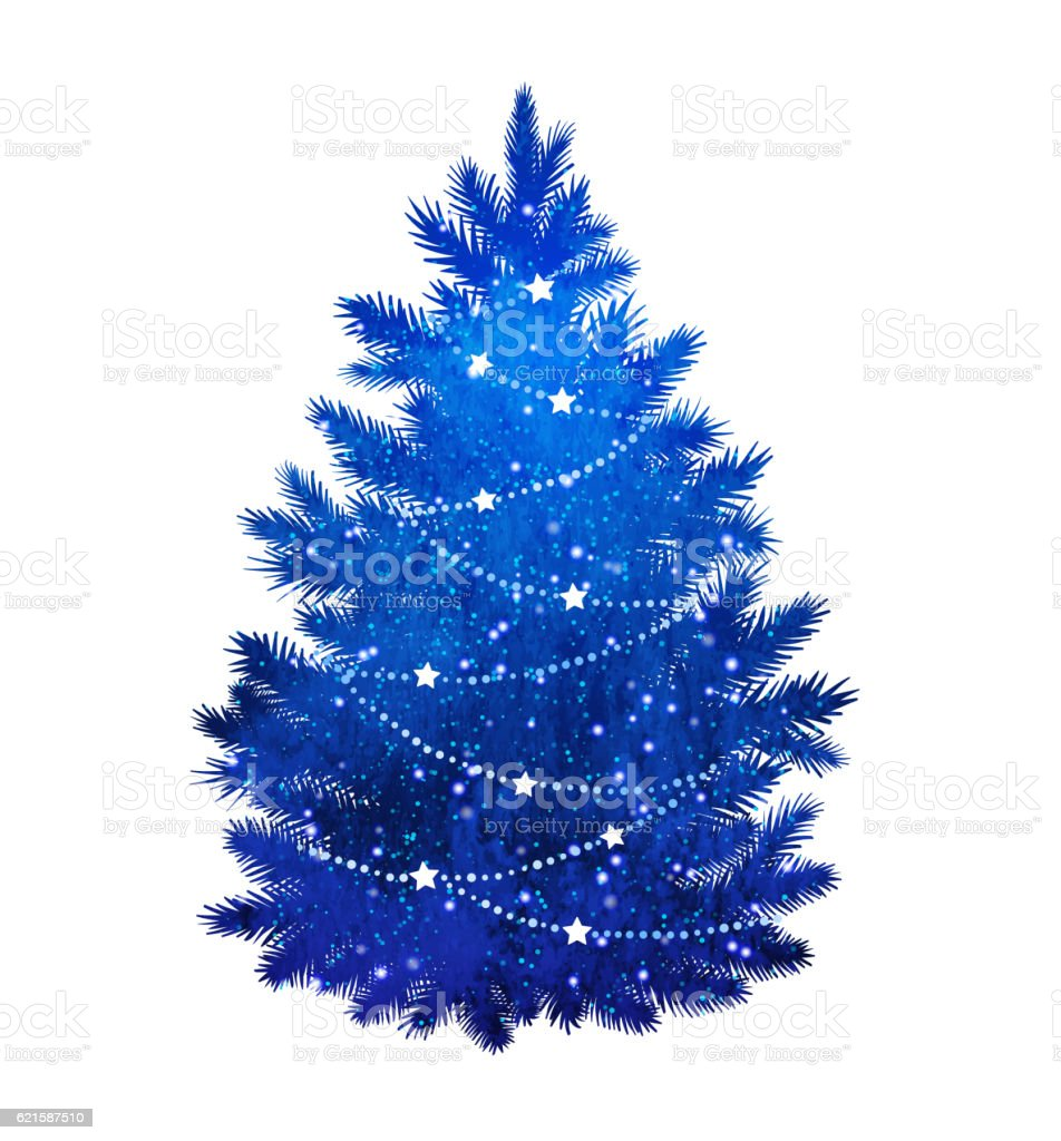 White christmas tree decorations blue - Blue Christmas Tree On White Background Royalty Free Stock Vector Art