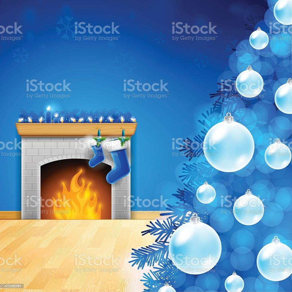 Blue Christmas vector art illustration