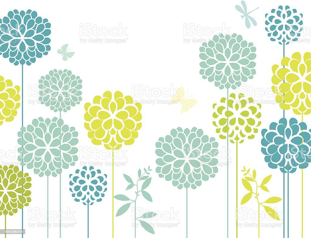 Blue chrysanthemum vector art illustration