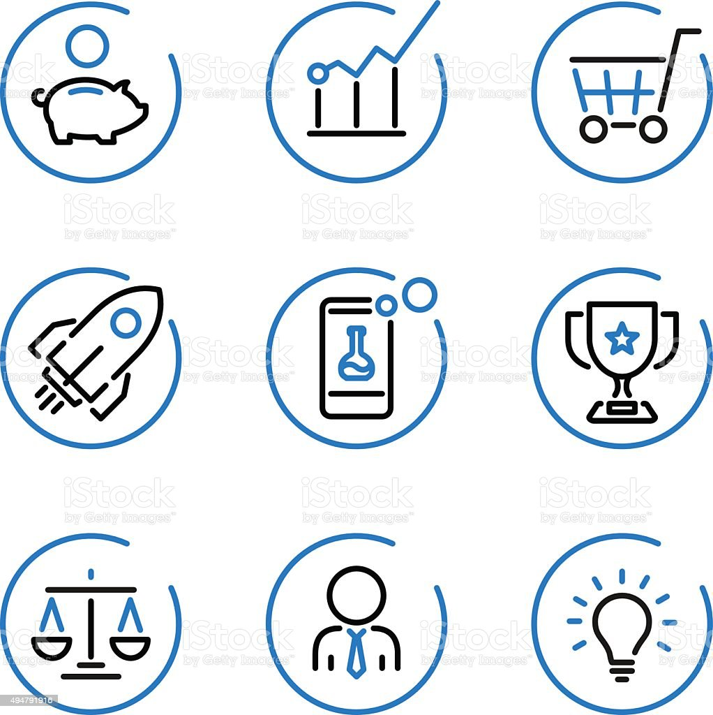 Blue circle lines icons vector art illustration