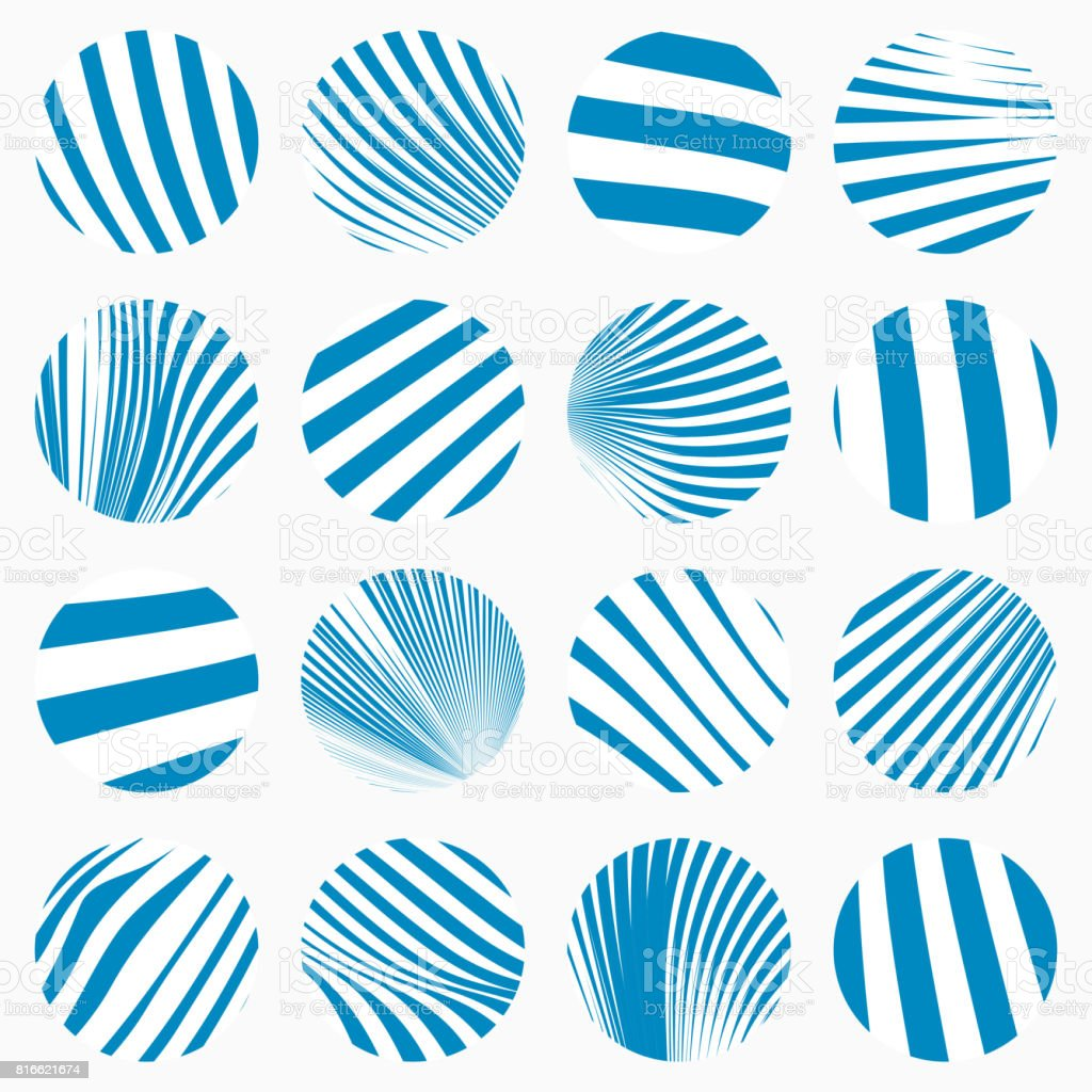 Blue Circle stripe Buttons Collection vector art illustration