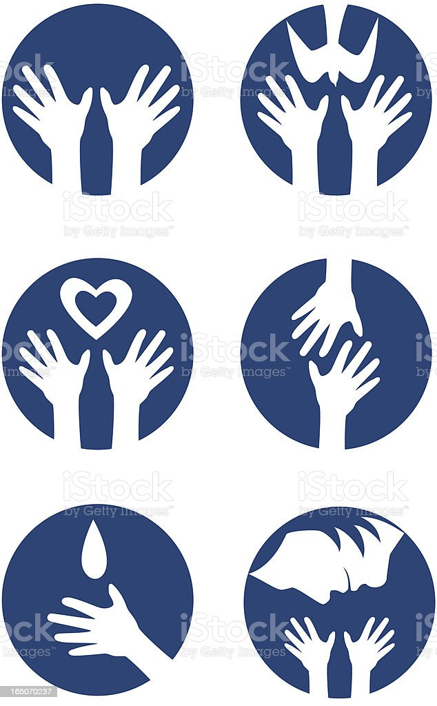 Blue circles with a silhouette of hands inside it vector art illustration