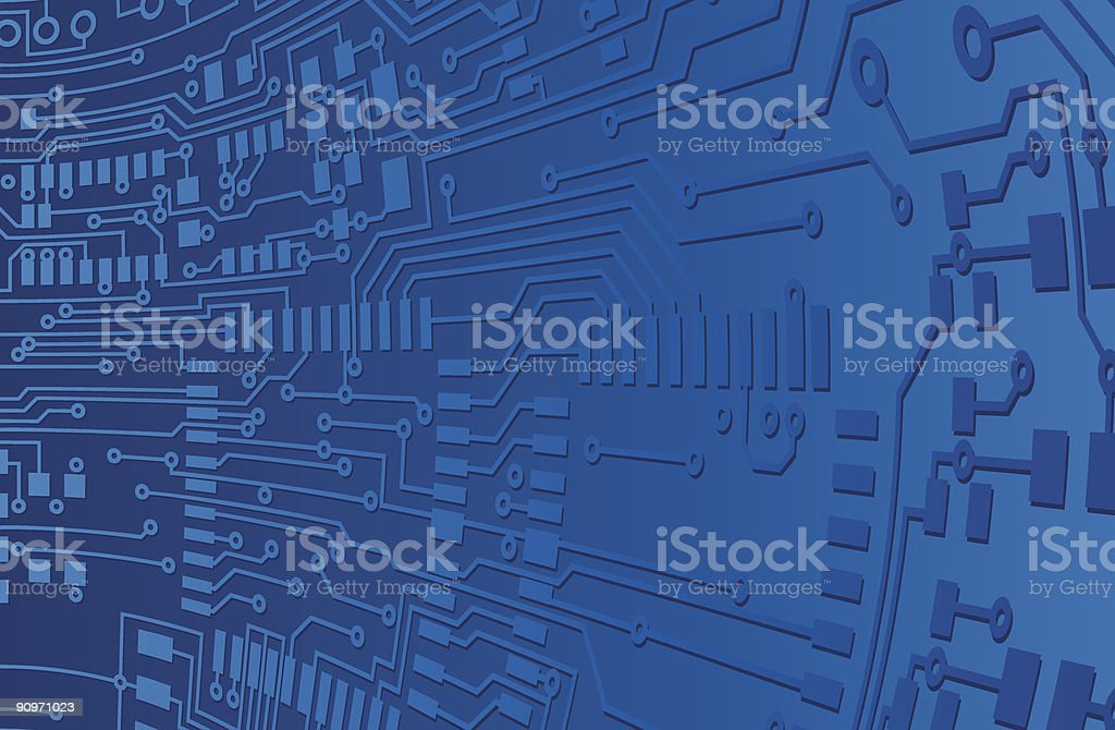 Blue Circuit Board Background royalty-free stock vector art