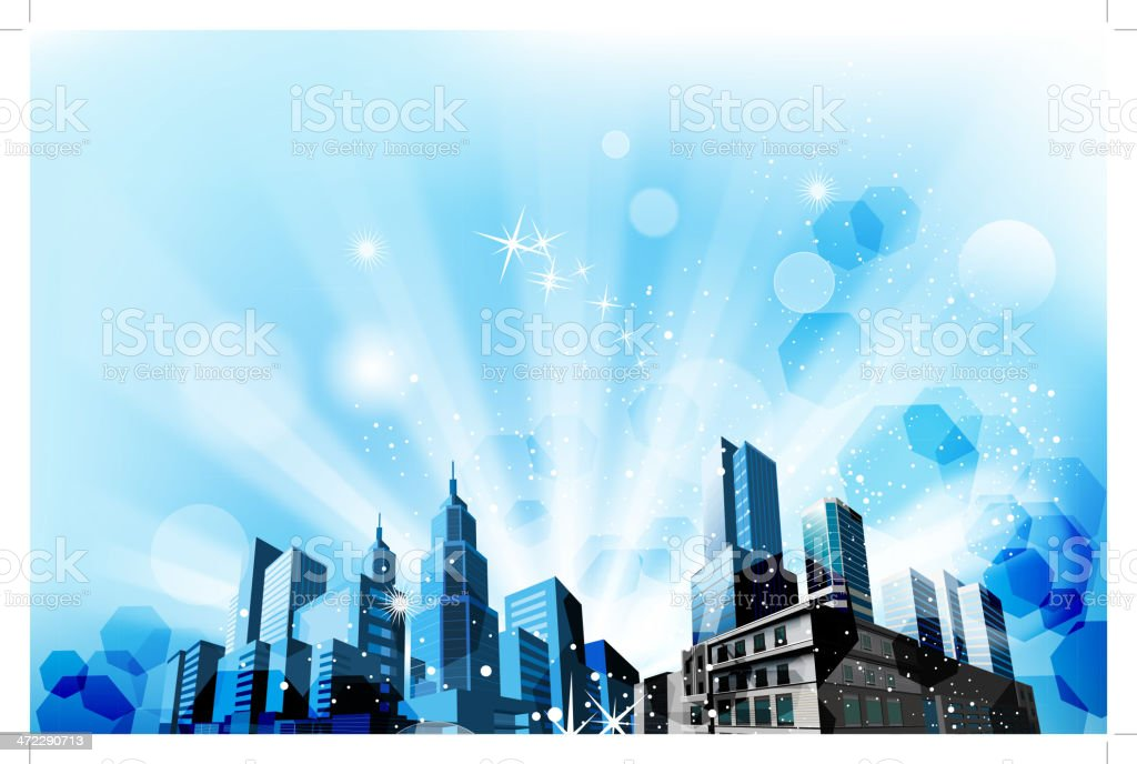 blue city background royalty-free stock vector art