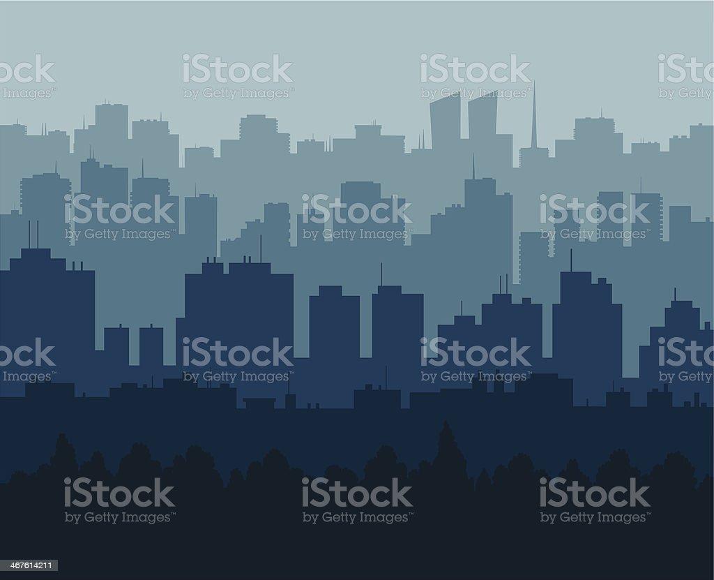 Blue city vector art illustration