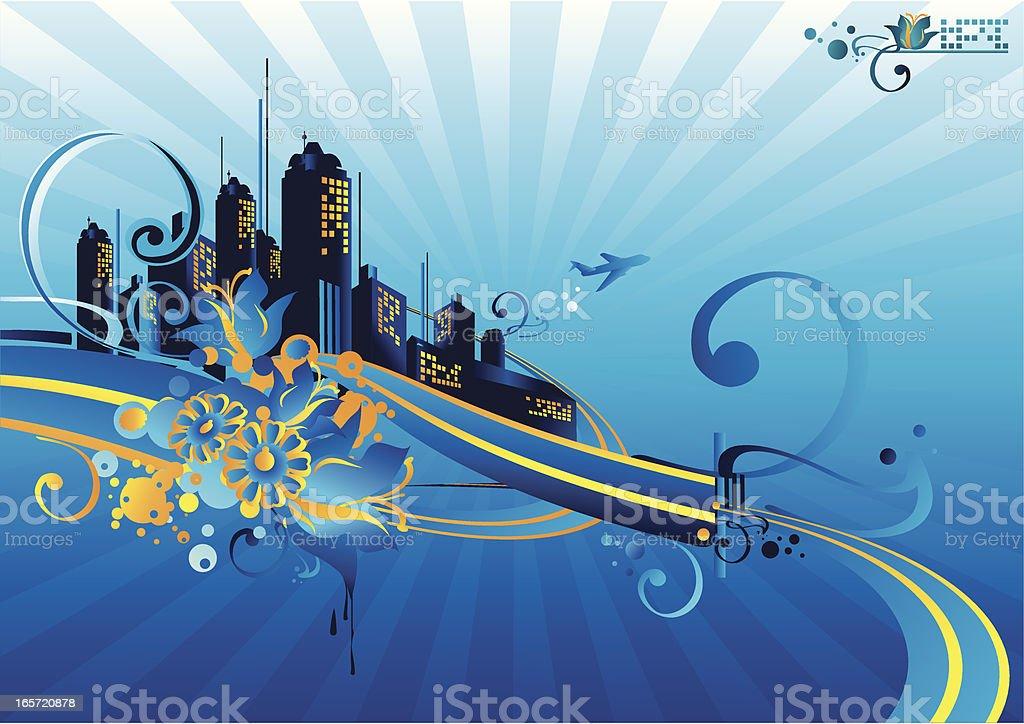 Blue cityscape vector art illustration