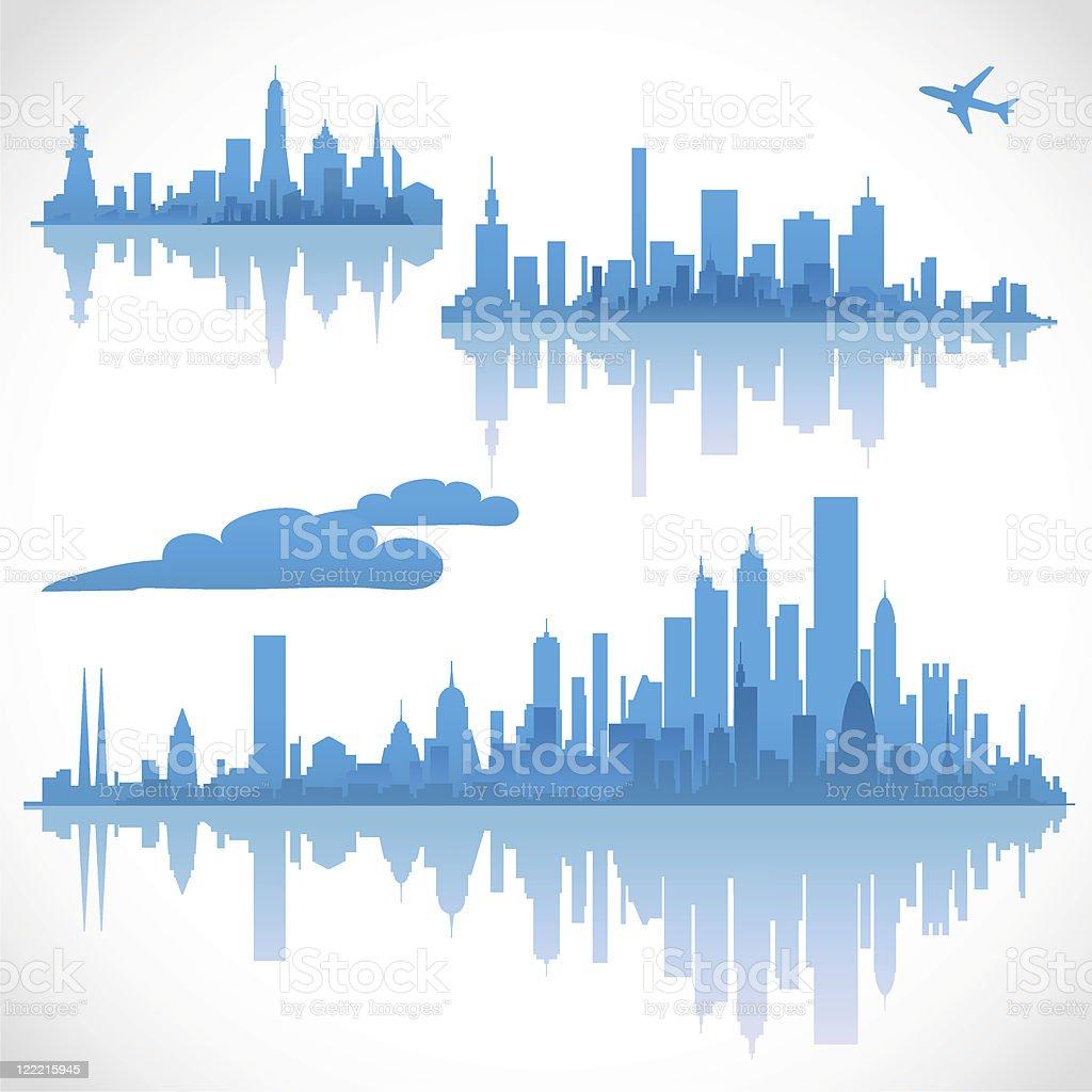 Blue cityscapes, set 1 royalty-free stock vector art