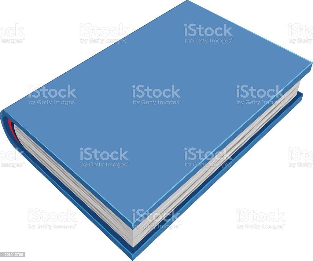 Blue closed hardcover book. Three-dimensional book vector art illustration