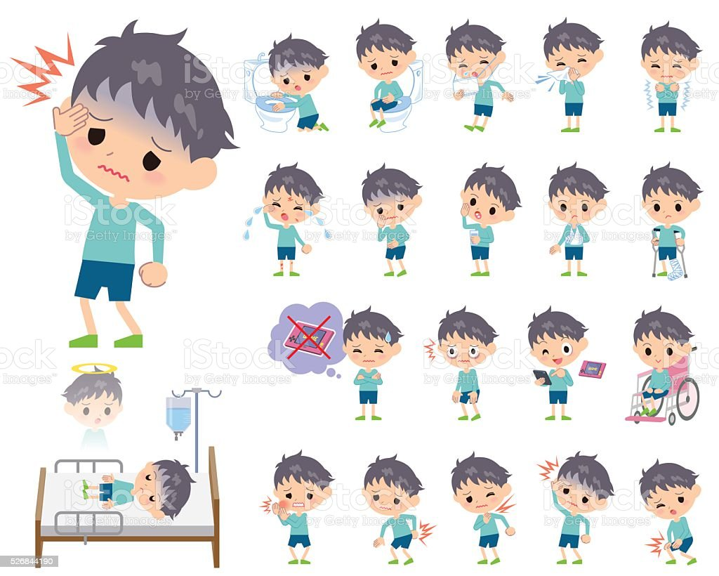 blue clothing boy About the sickness vector art illustration