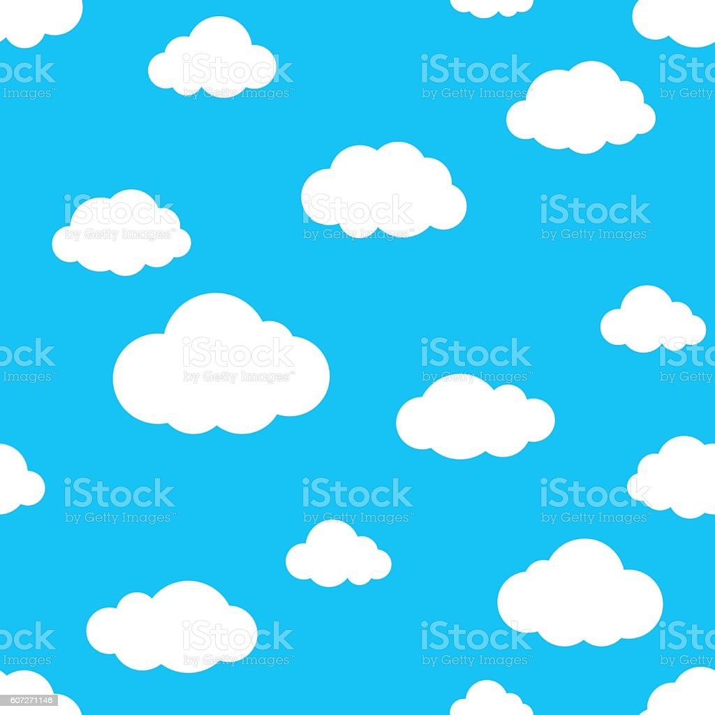 Blue Cloud seamless pattern vector art illustration