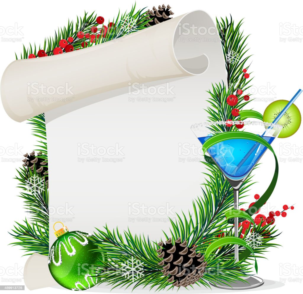 Blue cocktail, scroll  and Christmas wreath vector art illustration