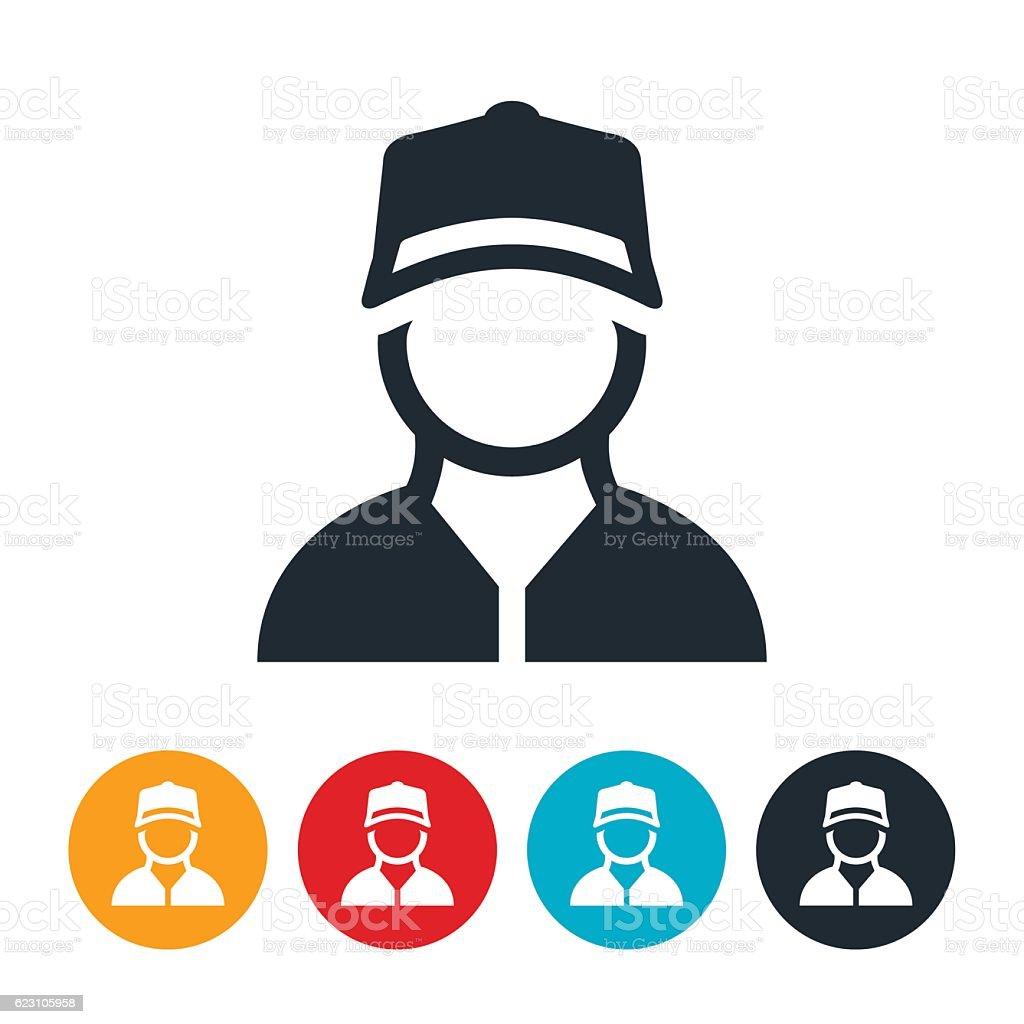 Blue Collar Worker Icon vector art illustration