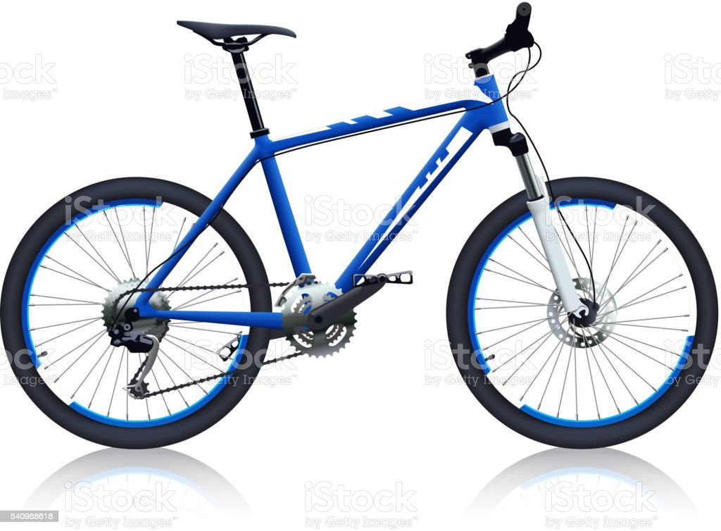 blue color bicycle vector art illustration