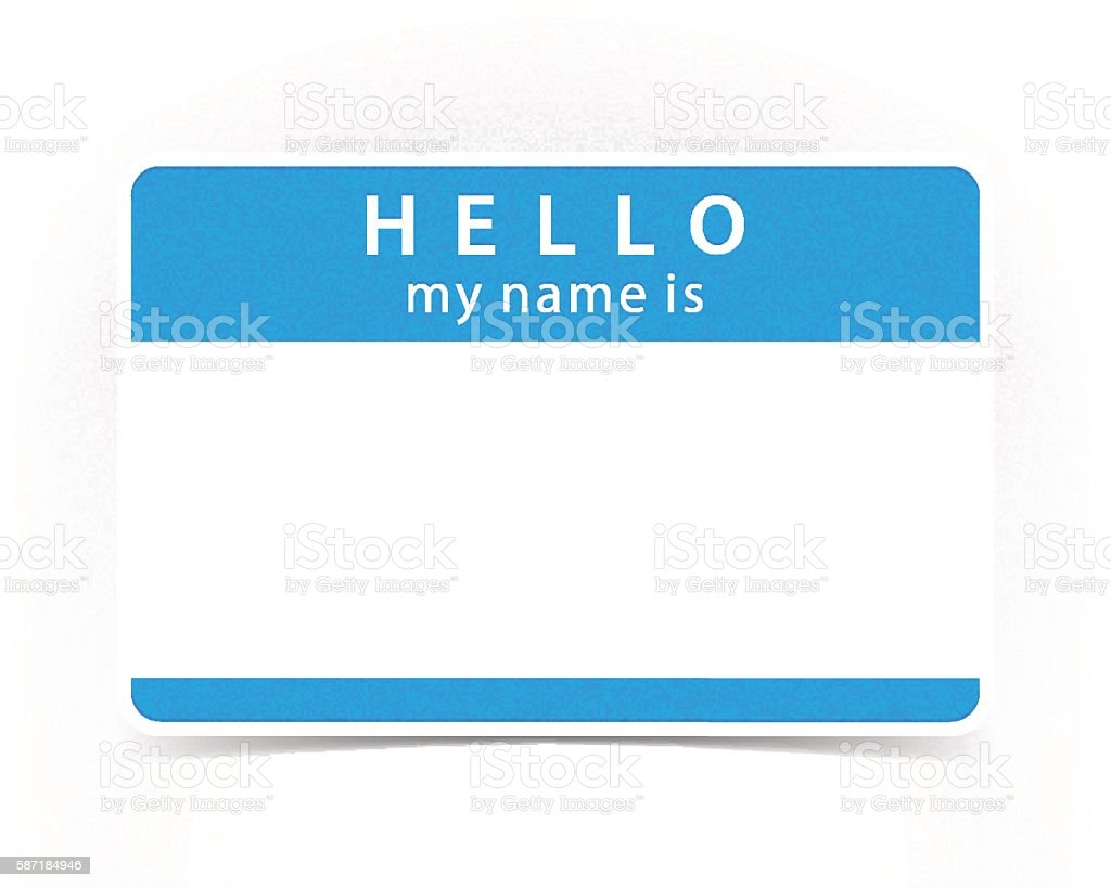 Blue color name tag blank sticker HELLO vector art illustration