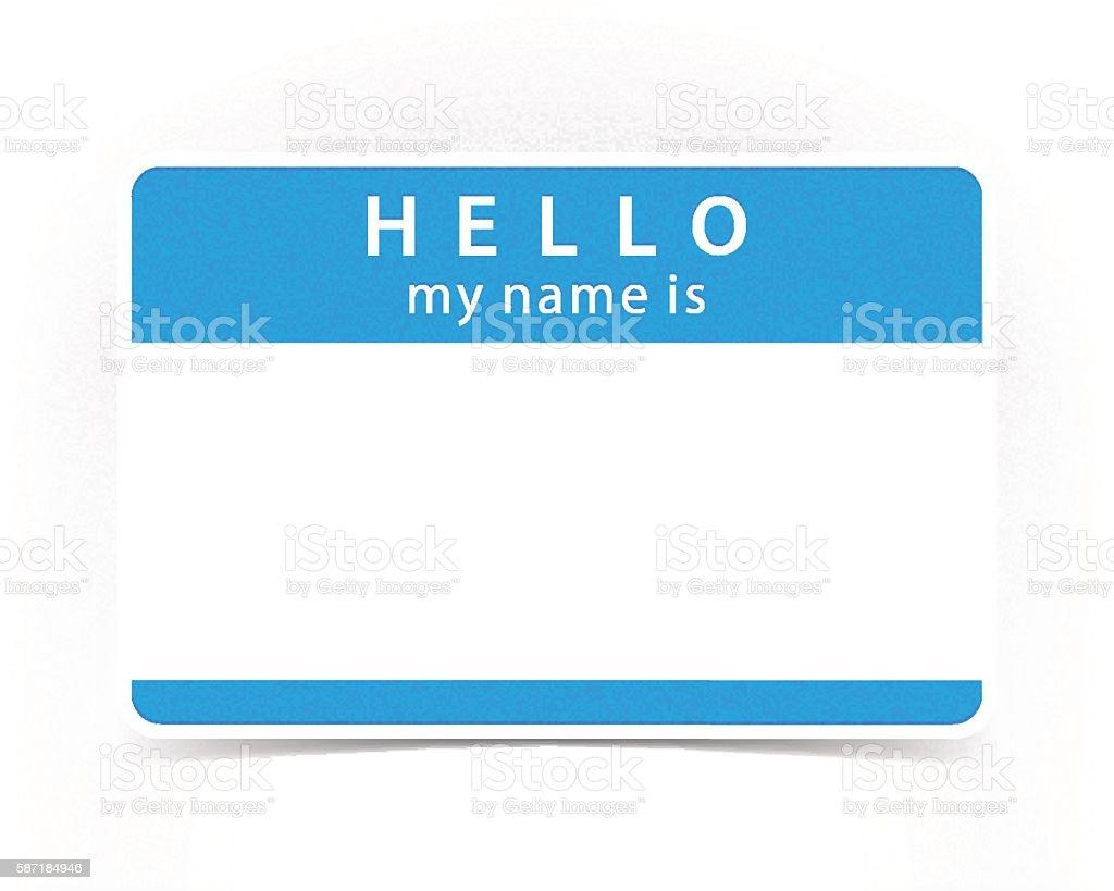 Blue color name tag blank sticker HELLO vector art illustration