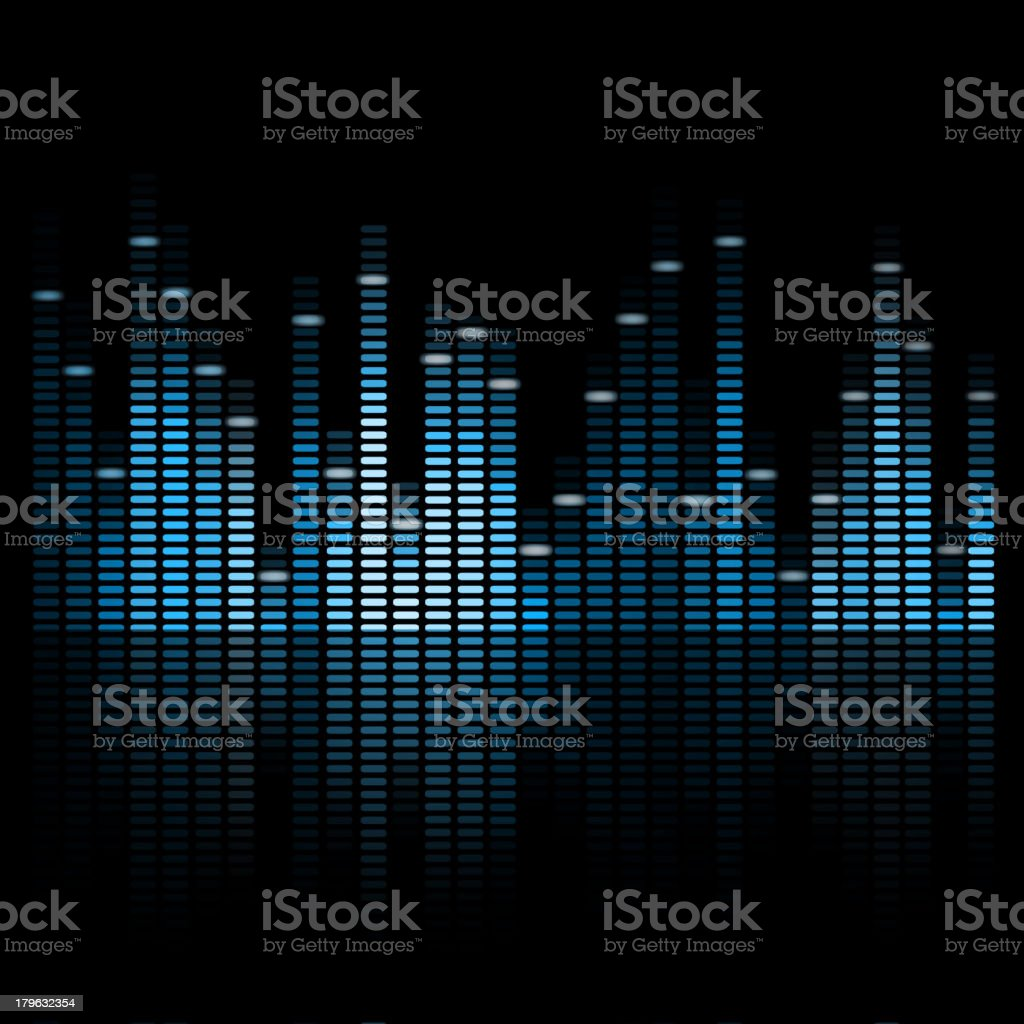 Blue colored vector music equalizer with dark background vector art illustration