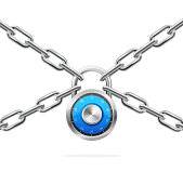 Blue Combination Padlock and Metal Chain. Vector