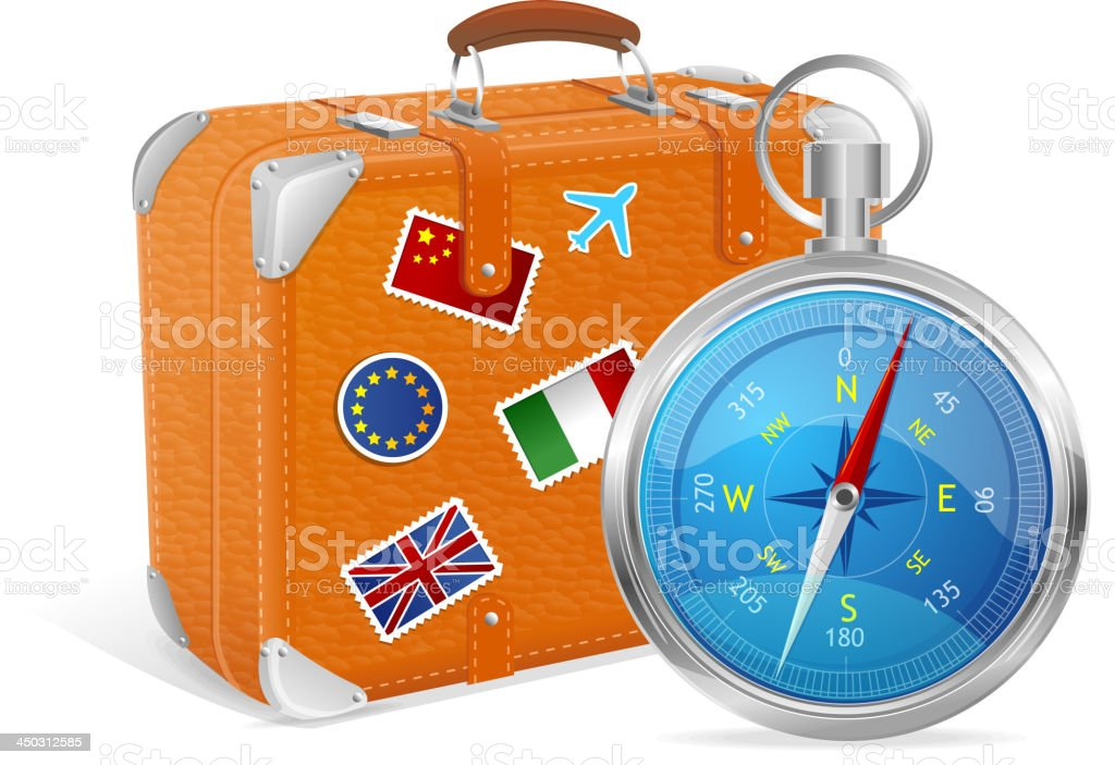 Blue Compass and suitcase. royalty-free stock vector art