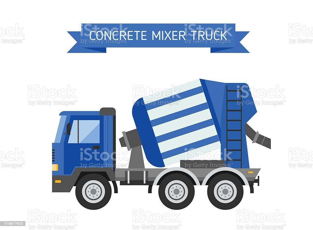 Blue concrete mixer truck cement industry equipment machine vector vector art illustration