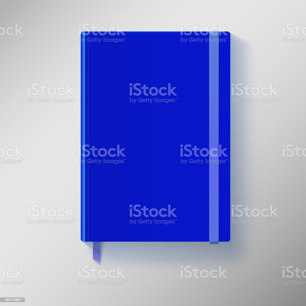 Blue copybook with elastic band and bookmark. royalty-free stock vector art