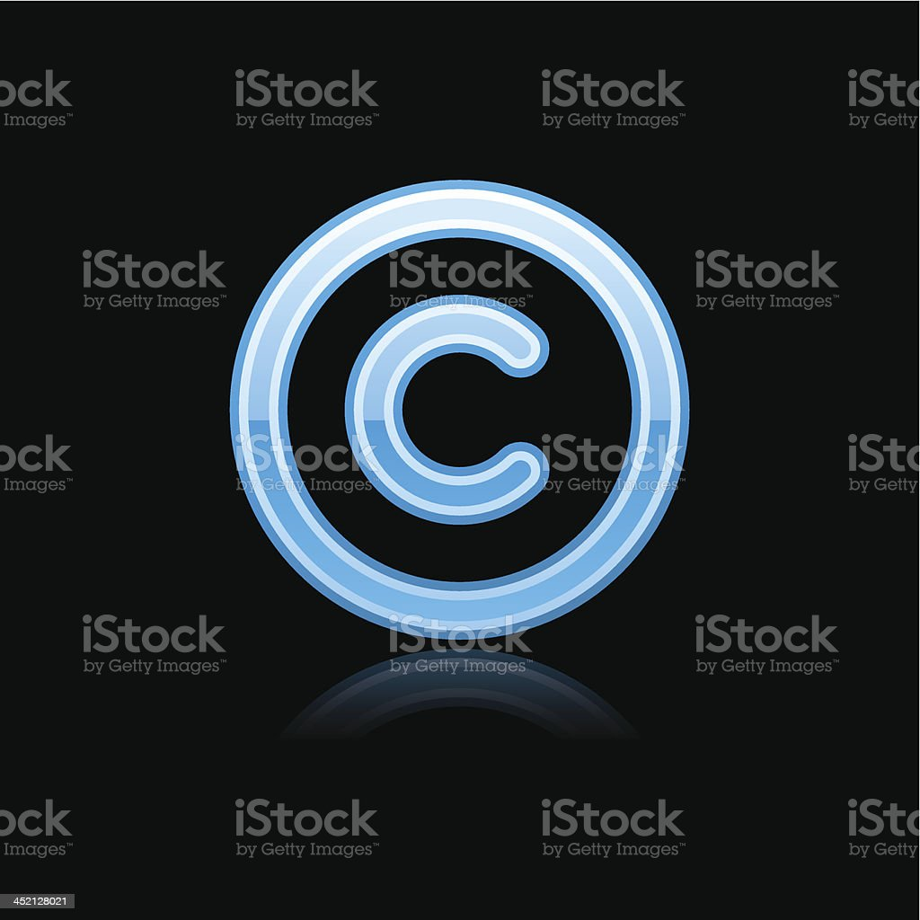 Blue copyright sign metal icon chrome pictogram web internet button vector art illustration