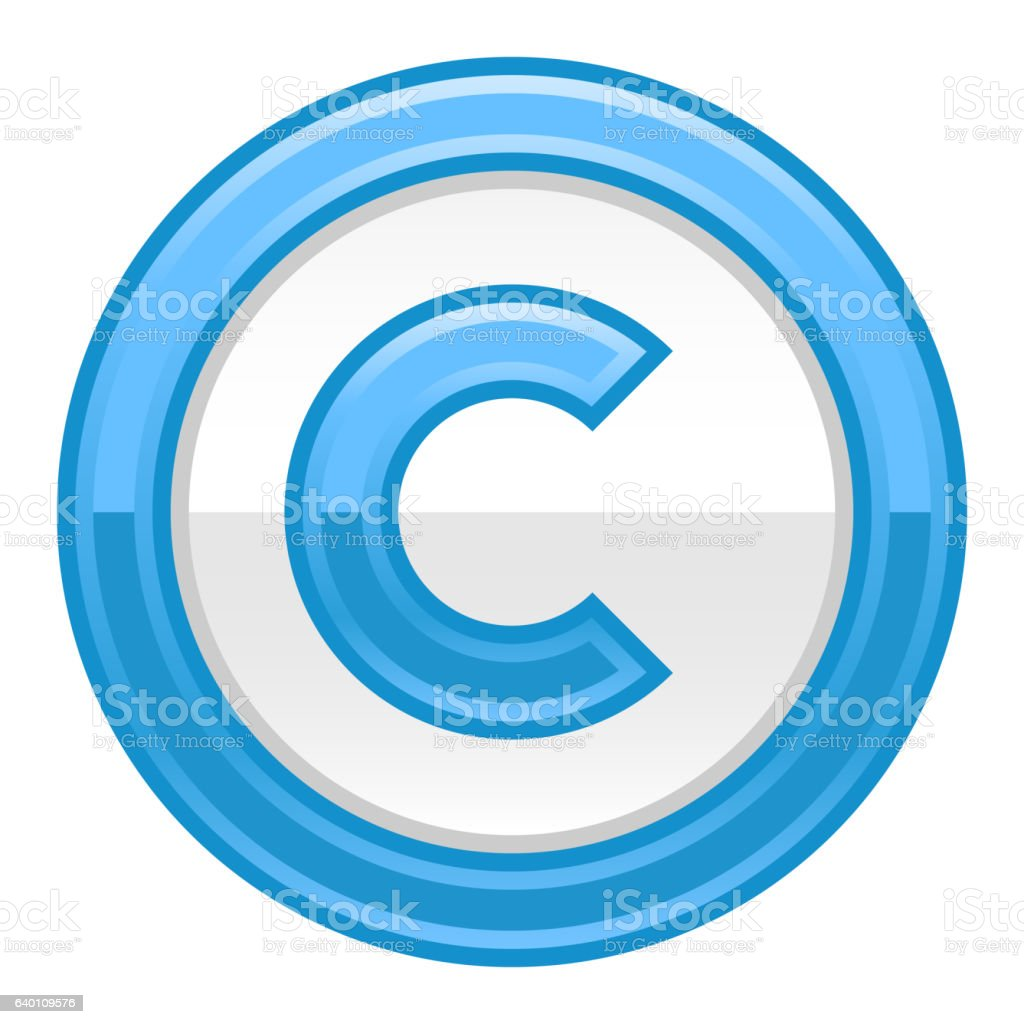 Blue Copyright Symbol Sign Glossy Icon vector art illustration