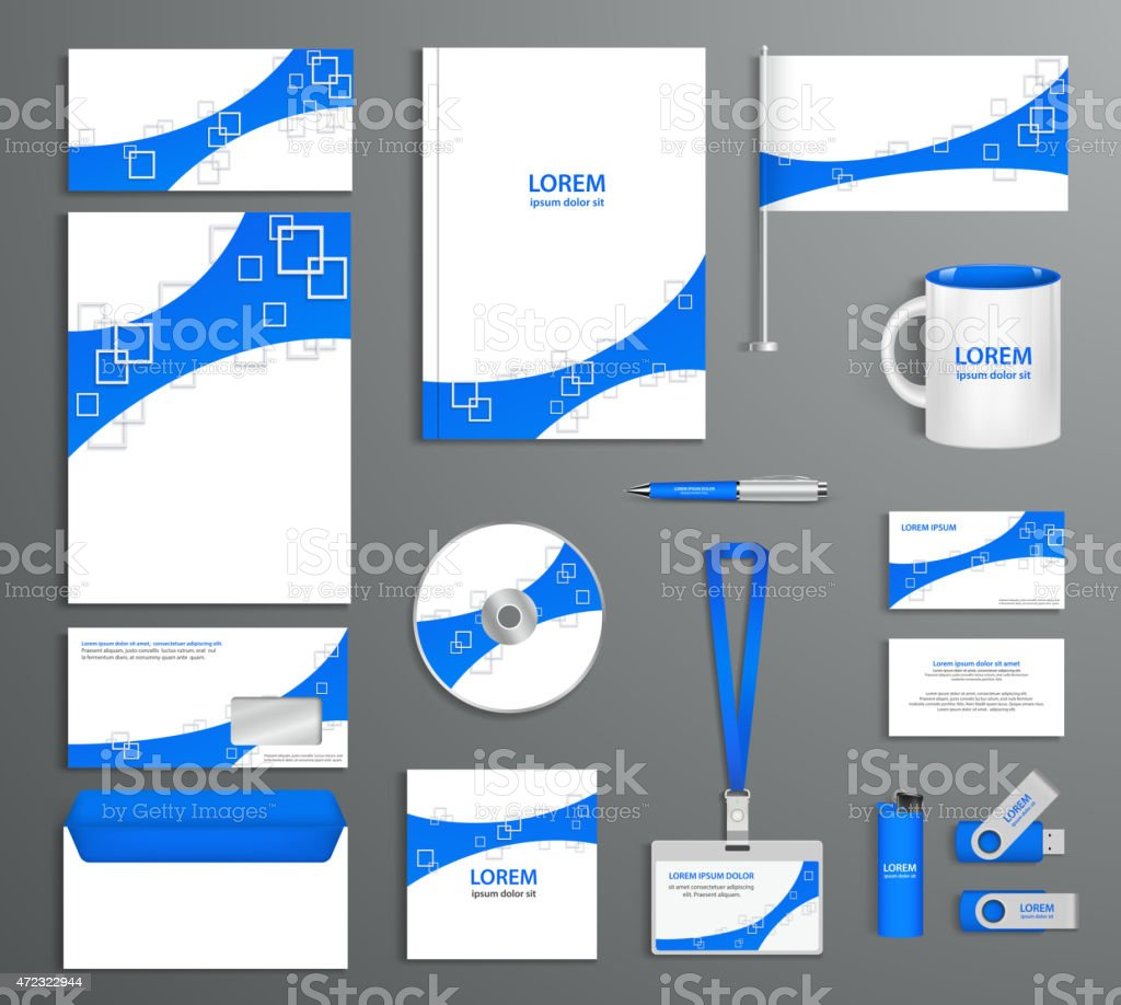 Blue corporate id template, company style, abstract of design el vector art illustration
