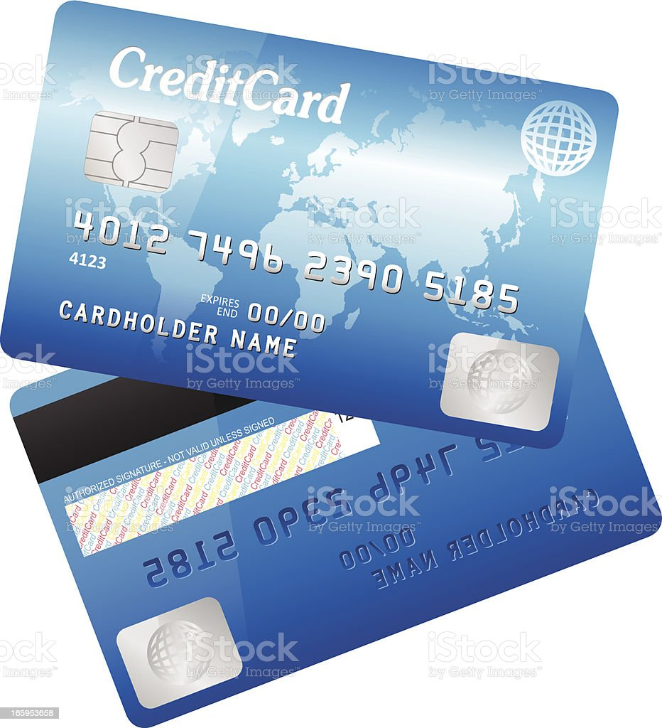 A blue credit/debit card with a map of the world on it royalty-free stock vector art