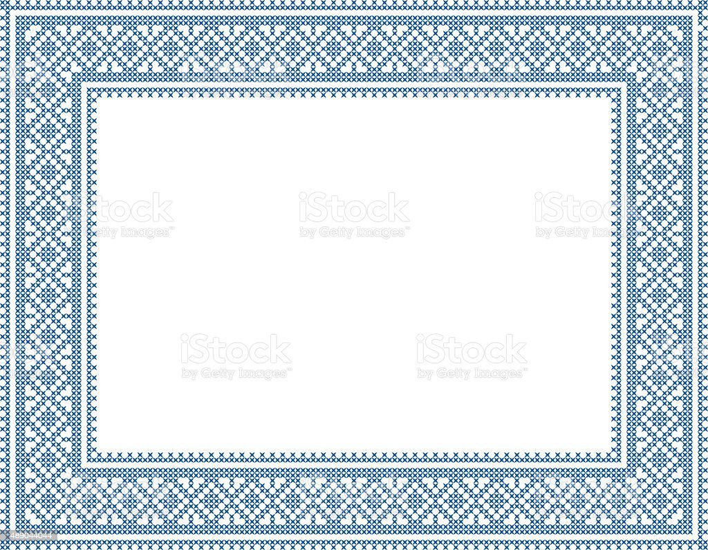 blue cross stitch frame 1 vector art illustration