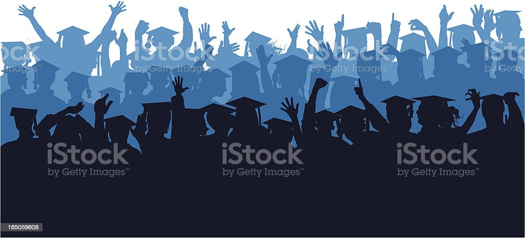 Blue Crowd of Graduates royalty-free stock vector art
