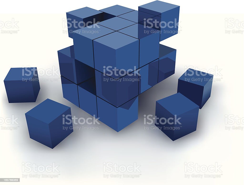 Blue cubes against white background vector art illustration