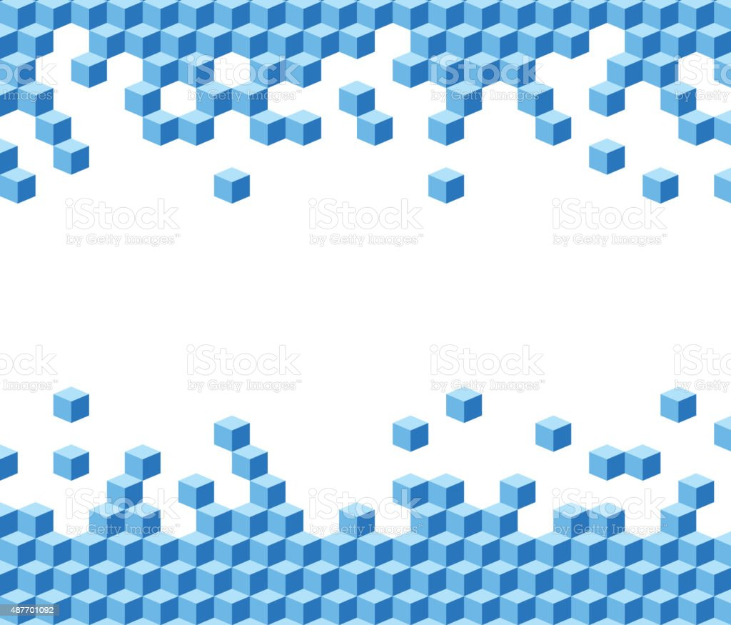 Blue cubes background vector art illustration