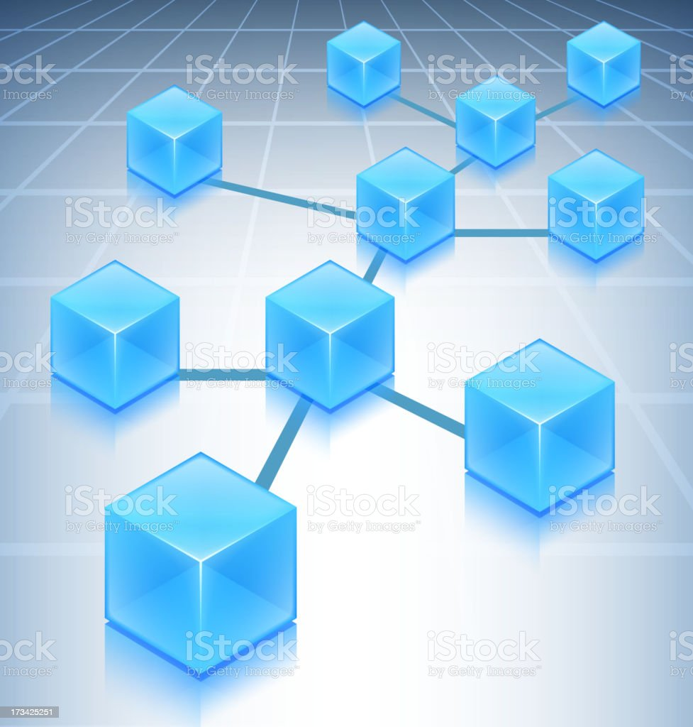 Blue Cubes Web Network Concept on Internet Background royalty-free stock vector art