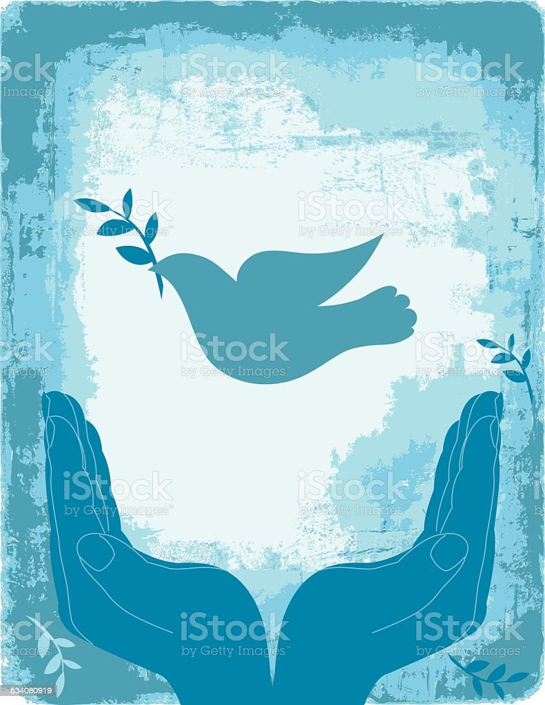 Blue Cupped Hands With Peace Dove vector art illustration
