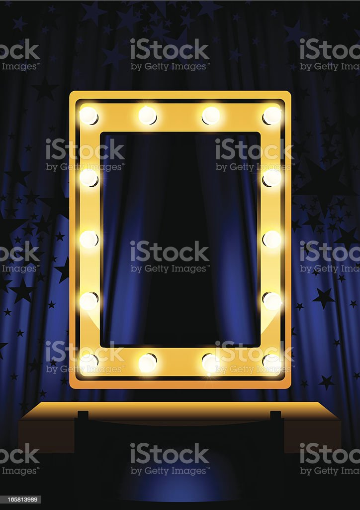 Blue Curtain & mirror royalty-free stock vector art