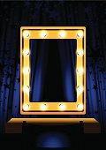 Blue Curtain & mirror
